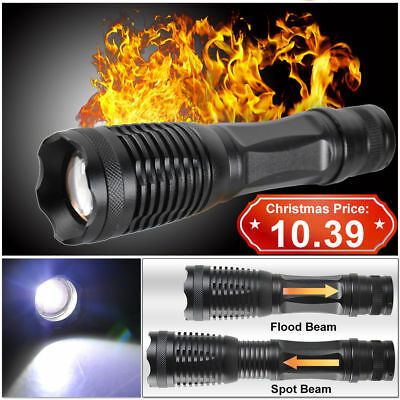 5000LM CREE T6 LED Zoomable Flashlight Waterproof Torch Light Lamp 18650 AAA AU