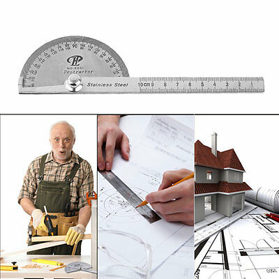 Stainless Steel Protractor 180 Degree Rotation Angle Ruler Measure 100mm Tool XU