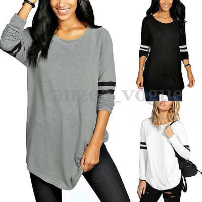 Women Cotton Long Sleeve Stripe Crew Neck Casual Basic T-shirts Tops Blouse Tee
