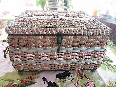 Large Retro green Vintage Sewing Basket 28 x 16 x 25 cms