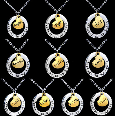 Ancient gold alloy Annulus Lettering family member Heart-shaped necklace