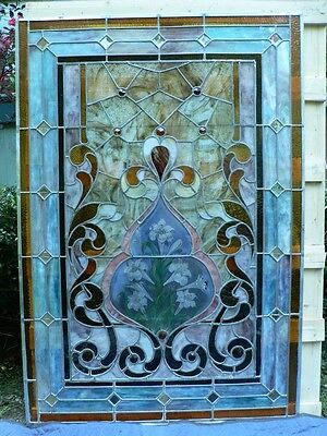 Antique VICTORIAN Stained Glass Landing Window Lillies, Jewels Fabulous!