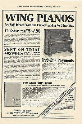 1905 Antique Magazine Ad, Wing Pianos. Wing Piano. New York City