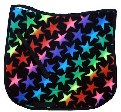 """"""" TIEDYE DROPS""""  DRESSAGE HORSE SADDLE PAD pink  red yellow blue green black"""