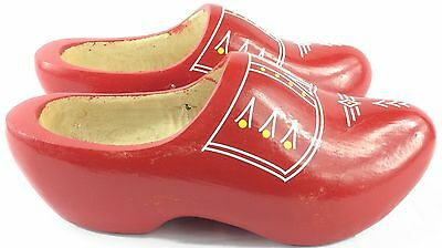 Vintage Hand Carved Wooden Clogs Made In Holland Adult Size 24 cm Painted Red