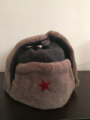KB) Soviet Union Warsaw Pact Winter Ear Flap Army Military Wool Brown Hat Cap
