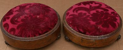 Pair Of Old Small Round Foot Stools To Tidy Up Or Restore