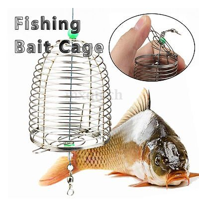 Stainless Steel Wire Fishing Bait Lure Cage Trap Basket Feeder Holder Tackle