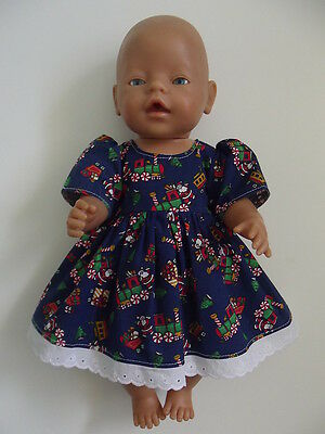 """DOLLS CLOTHES to fit 43cm (17"""") BABY BORN *Christmas Dress*"""