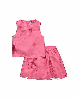 Freespirit Organza Check Top And Skirt Set in Hot Pink Size 13 Years