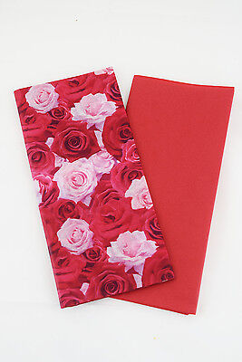 Valentines Gift Wrap Luxury Tissue Paper Six Sheets 2 Designs Red & Floral Roses