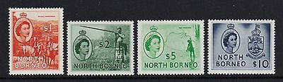 North Borneo 1955-57 Top four values of set - unmounted mint