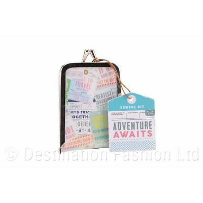 Adventure Awaits Sewing Kit Small Portable Travel Home Case Needle Thread Pack