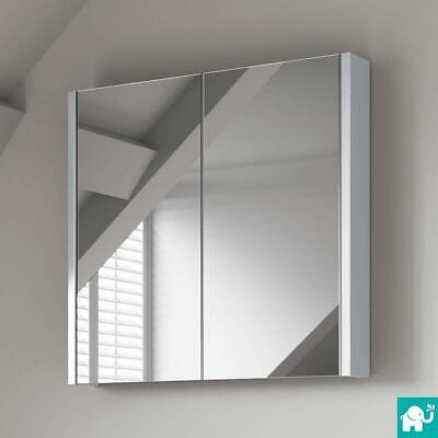 600mm Mirror Bathroom Cabinet Unit White 2 door Minimalist Wall Hung Furniture