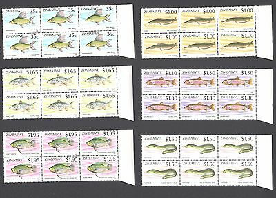 ZIMBABWE 1994 FISH BLOCKS x 6 MNH