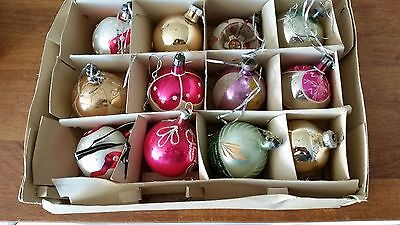 Vintage Mixed Lot 12 Glass Christmas Tree Baubles / Decorations - Great!