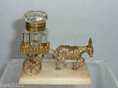Antique Grand Tour Donkey Inkwell Metal Glass Marble Mule Animal