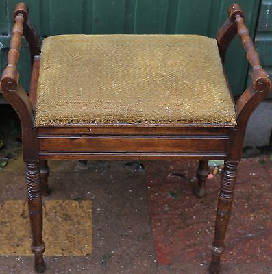 Useful Old Wooden Piano Stool With Turned Legs To Polish Up