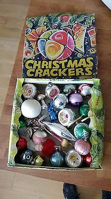 Vintage Mixed Lot 25 Glass / Plastic Christmas Tree Baubles / Decorations