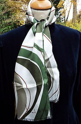 """Vintage SILK SCARF RICHARD ALLAN  9"""" x 46"""" LONG HAND ROLLED ABSTRACT GREEN"""