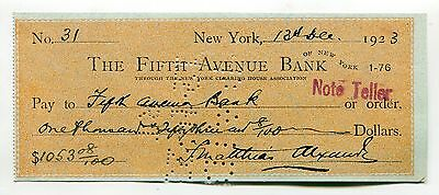 F. Matthias Alexander - Fifth Avenue Bank, New York cheque, check signed in 1923