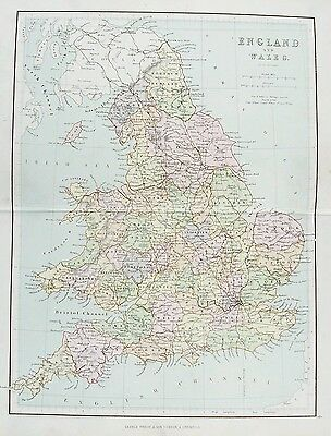 OLD ANTIQUE MAP ENGLAND & WALES c1879 by HUGHES / PHILIP PRINTED COLOUR