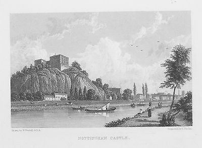 OLD ANTIQUE PRINT NOTTINGHAM CASTLE VIEW c1830's by WESTALL / FINDEN ENGRAVING