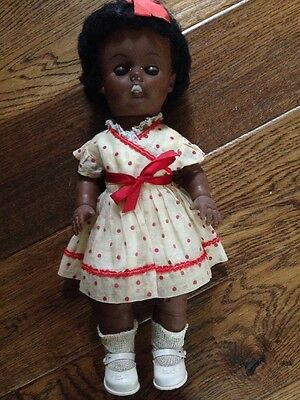Vintage Dark Skinned Black Haired Vinyl Doll 1950's Reliable Toy Co. Canada