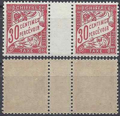 Timbre Taxe N°33 Paire Avec Pont Neuf ** Luxe Gomme D'origine Mnh