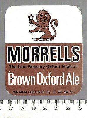 UK Beer Label - Morrells Brewery - Oxfordshire - Brown Oxford Ale (version a)