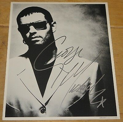 GEORGE MICHAEL HAND SIGNED B&W 10x8 PHOTOGRAPH RESPECTED UACC REGISTERED DEALERS
