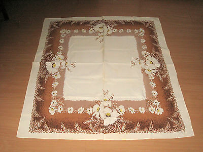 """Vintage Tablecloth California Hand Prints 52"""" x 46""""  Brown Tan Ivory Center"""