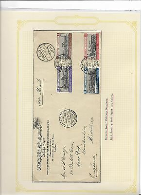 Egypt railway congress 1933 first day cover (#30988a)