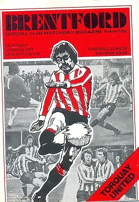 BRENTFORD v TORQUAY UNITED Division four 5 March 1977