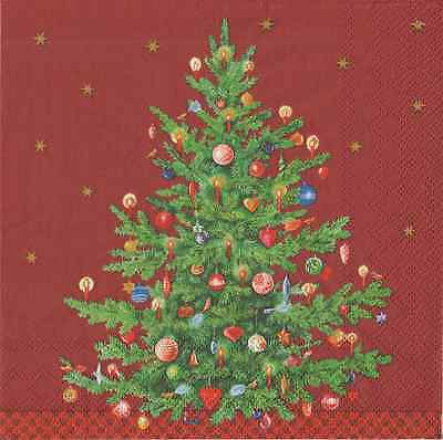 IHR Christmas Trimmed Tree Red 4 Single Napkins Decoupage