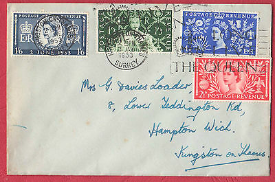 Great Britain '53 Coronation on Plain First Day Cover 3 JU 1953 to Kingston