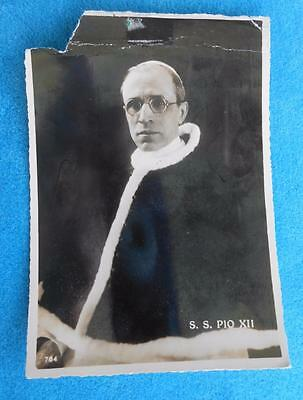 VINTAGE ~ Pope Pius XII ~ Post Card ~ Vatican City Post 1955 ~ + cancelled stamp