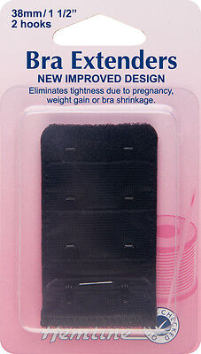 Bra Back Extender With 4 rows and 2 Hooks BLACK 38mm. No Sewing Clip on Extender