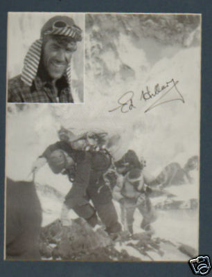 Edmund Hillary signed 8x10` Up Everest, in display