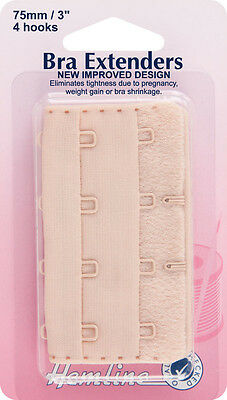 Bra Back Extender With 4 rows and 4 Hooks NUDE 75mm. No Sewing Clip on Extender