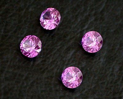 Two 7.5mm Round Synthetic Corundum Rhodolite Sapphire Red Purple Color Gemstone