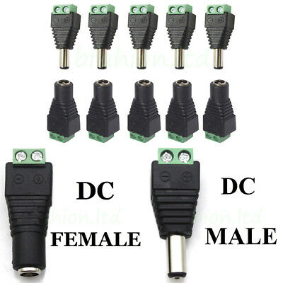 10 x 12V DC Female Male Power Connector Adapter Plug Jack Socket For CCTV Cable