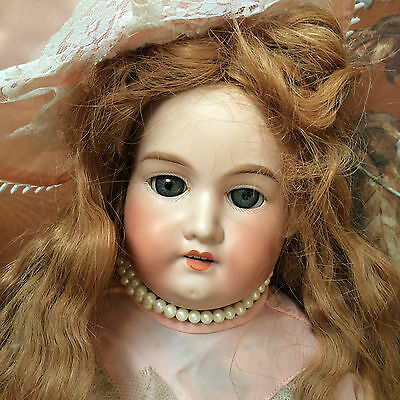 """ANTIQUE ARMAND MARSEILLE BISQUE DOLL LARGE 22.1"""" w TEDDY BEAR"""