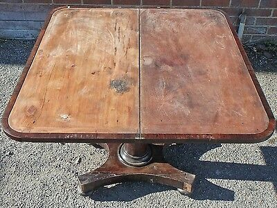 William IV antique Rio rosewood fold over card games hall console table
