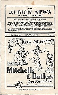 West Bromwich Albion v Chelsea FA Cup 5th Round 1948/49