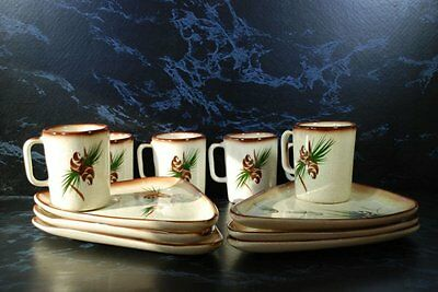 Vintage Romco Rocky Mountain Pottery Snack Set For 6-12 Piece Set