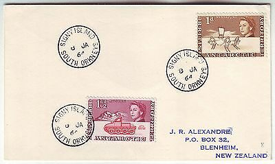 BRITISH ANTARCTIC TERRITORY 1964 cover with *SIGNY ISLAND SOUTH ORKNEYS* cancels