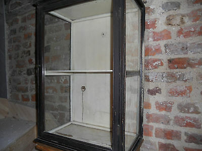 antique wall hung, counter top, wood and glass  display cabinet