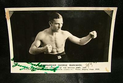 Signed Autographed Boxing Photograph Postcard Bombarier George Marwick - Lot 7