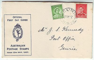 AUSTRALIA 1937 *CORONATION* pair on official illustrated FDC with GEURIE cd